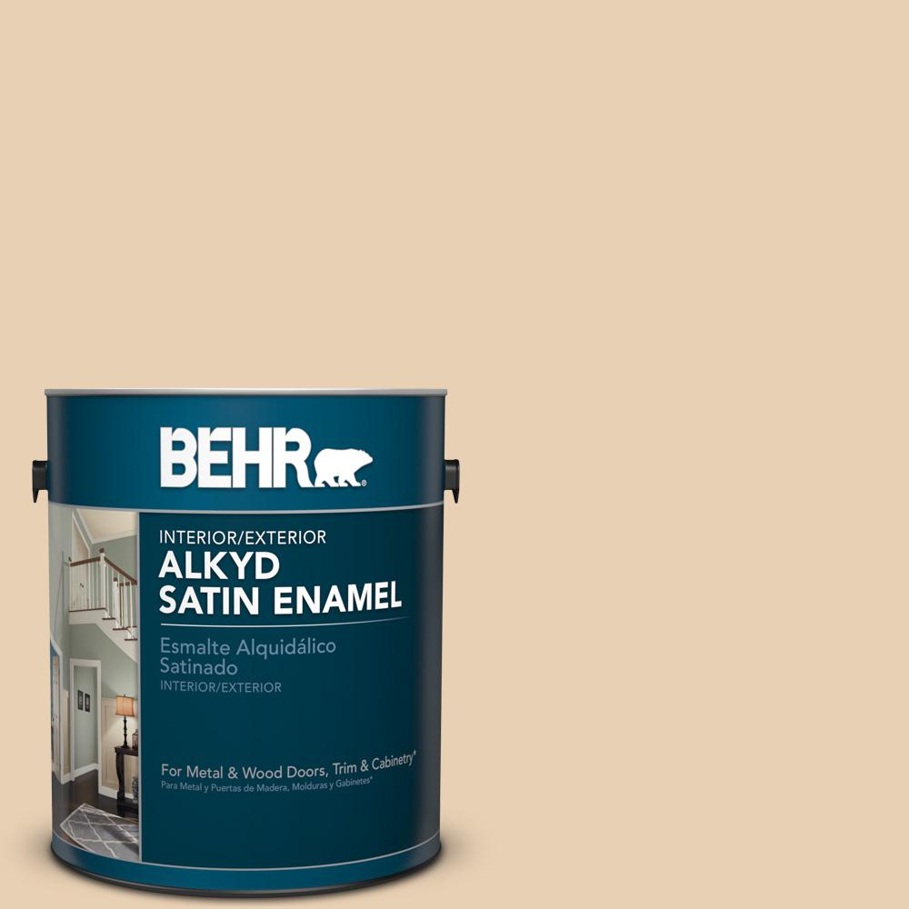 1 gal. #S290-2 White Bean Hummus Satin Enamel Alkyd Interior/Exterior Paint