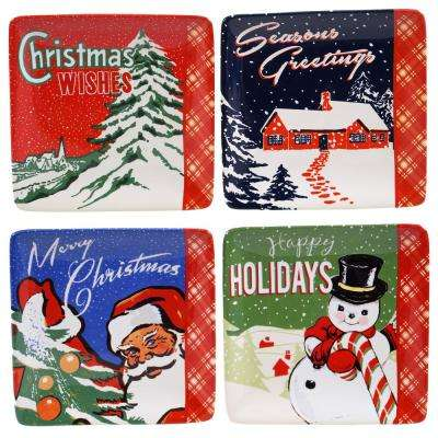 Retro Christmas 6 in. Canape Plate (Set of 4)