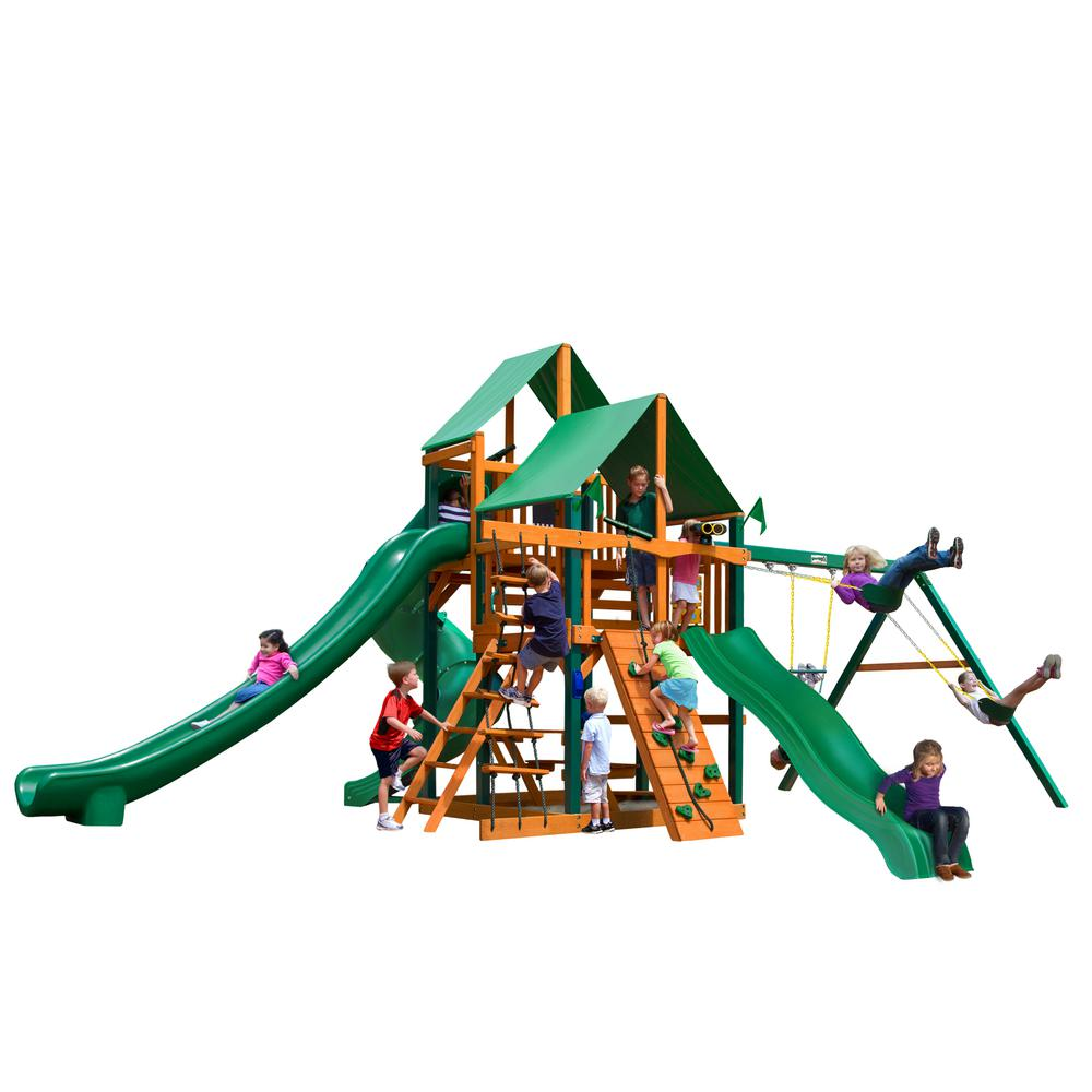 Gorilla Playsets Great Skye II Cedar Swing Set with Green Vinyl Canopy and Timber Shield Posts  sc 1 st  Home Depot & Gorilla Playsets Great Skye II Cedar Swing Set with Green Vinyl ...