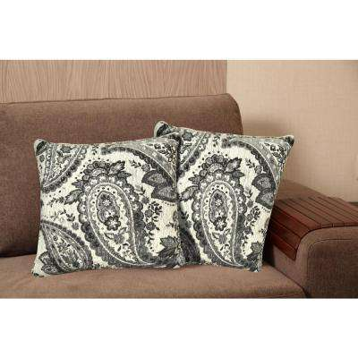 Chenille 20 in. Gray Decorative Pillow