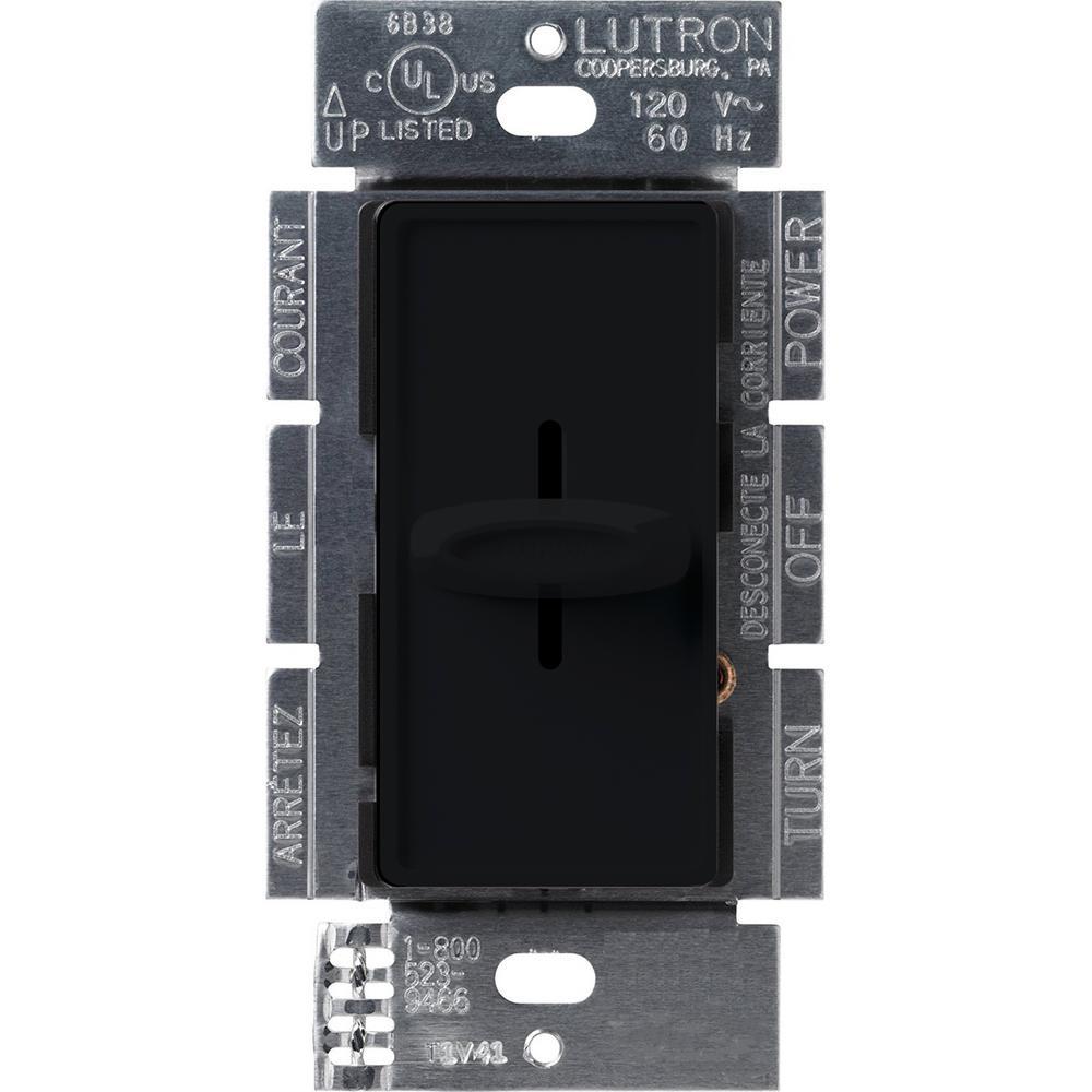 Lutron Skylark 1000-Watt Single-Pole Slide-to-Off Dimmer, Black