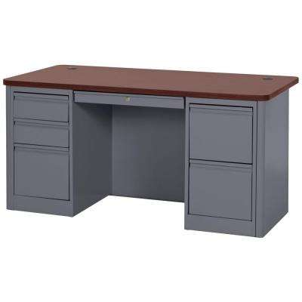 29.5 in. H x 60 in. W x 30 in. D 900 Series Double Pedestal Heavy Duty Teachers Desk in Charcoal/Mahogany