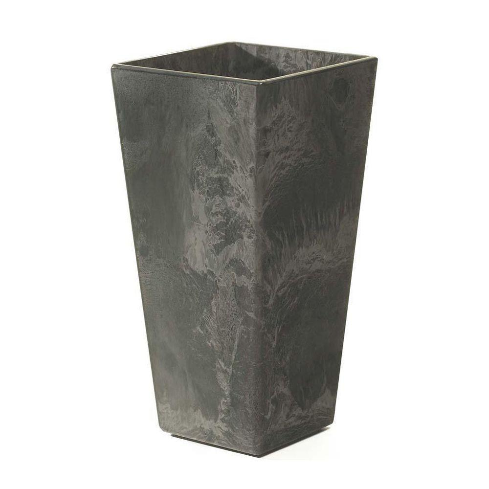 Home decorators collection ella 14 in square black resin planter
