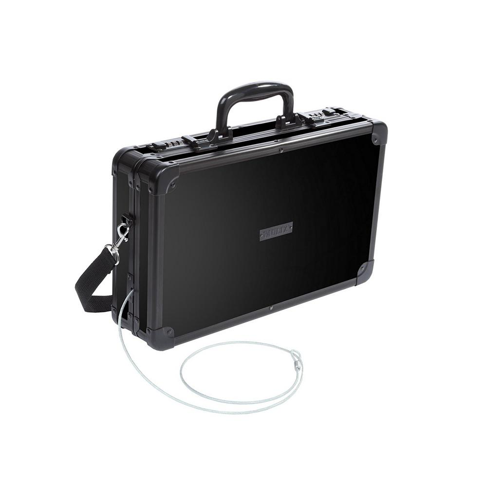Vaultz Locking Gun Case with Security Tether and Hard-Sided in Tactical Black
