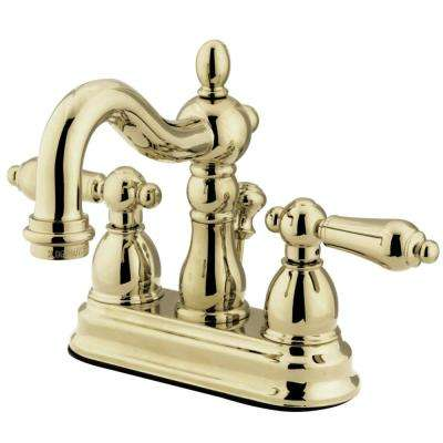 Heritage 4 in. Centerset 2-Handle Bathroom Faucet in Polished Brass