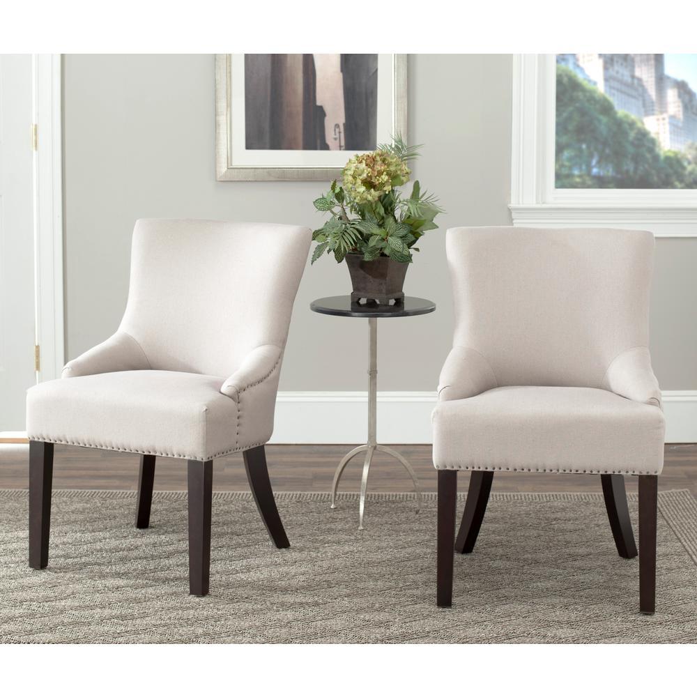 Safavieh Lotus Taupe Linen Side Chair Set Of 2 Mcr4700h