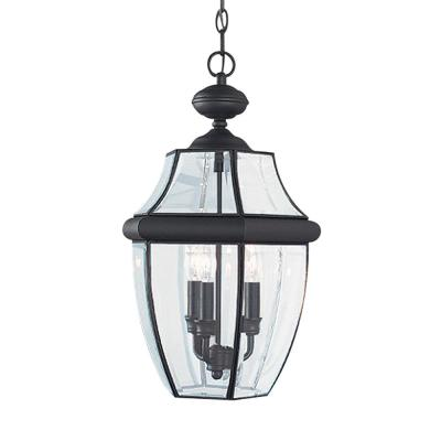 Lancaster 3-Light Black Outdoor Hanging Pendant with Dimmable Candelabra LED Bulb