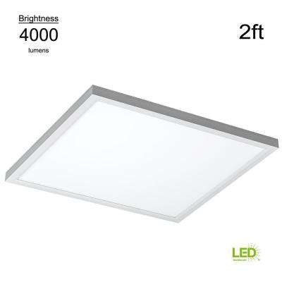 Commercial Drop Ceiling 2 ft. x 2 ft. White 4000K Dimmable Integrated LED Flat Panel Troffer (2 Pack)