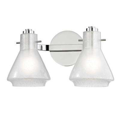 Rosie 2-Light Polished Nickel Bath Light with Clear Glass Outside Etched Glass Inside