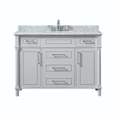 Aberdeen 48 in. W x 22 in. D Vanity in Dove Grey with Marble Vanity Top in White with White Basin