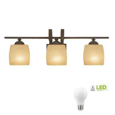 3-Light Bronze Vanity Light with Scavo Glass Shade, Dimmable LED Soft White Bulbs Included