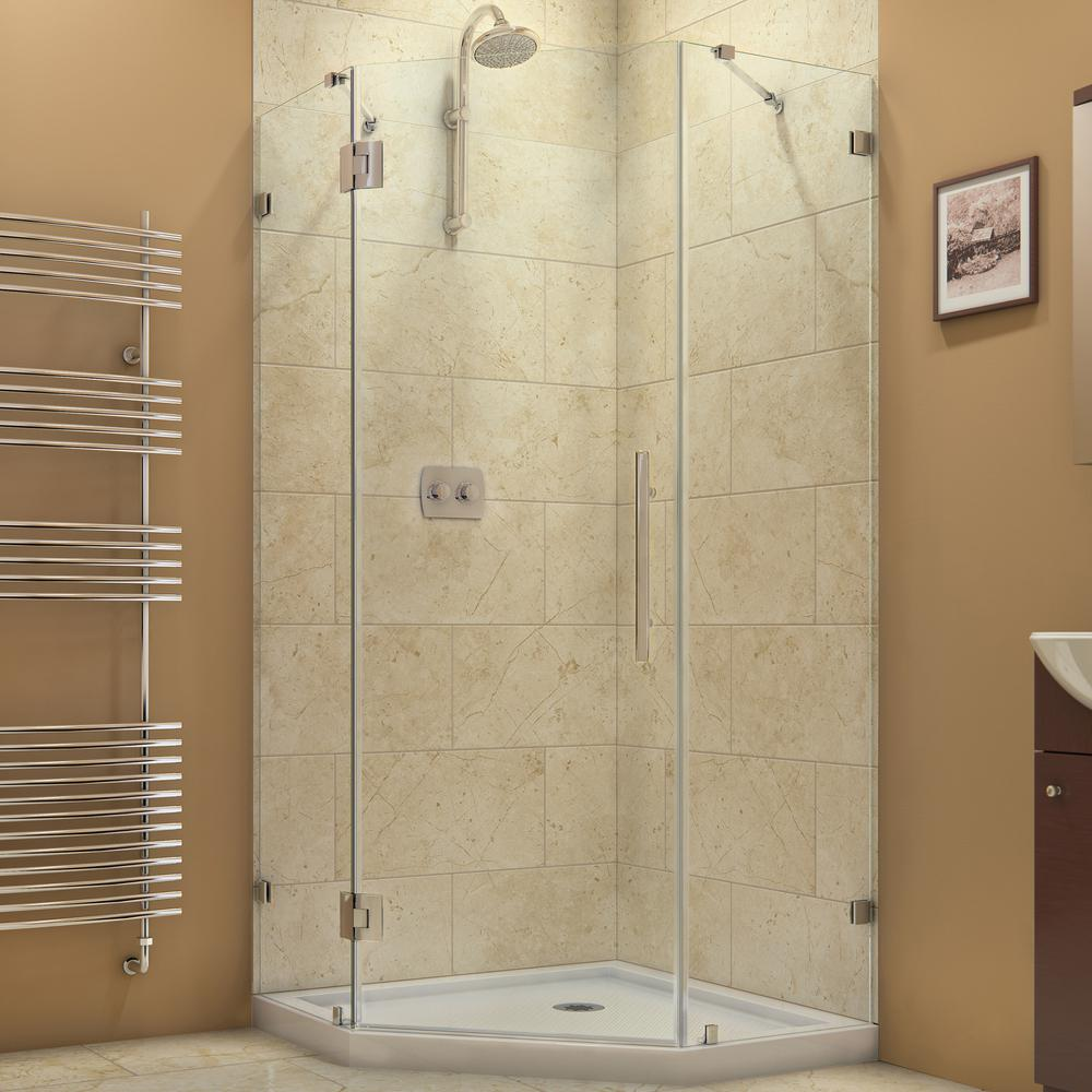 DreamLine Prism Lux 38 in. x 38 in. x 72 in. Frameless Hinged Neo-Angle Corner Shower Enclosure in Chrome