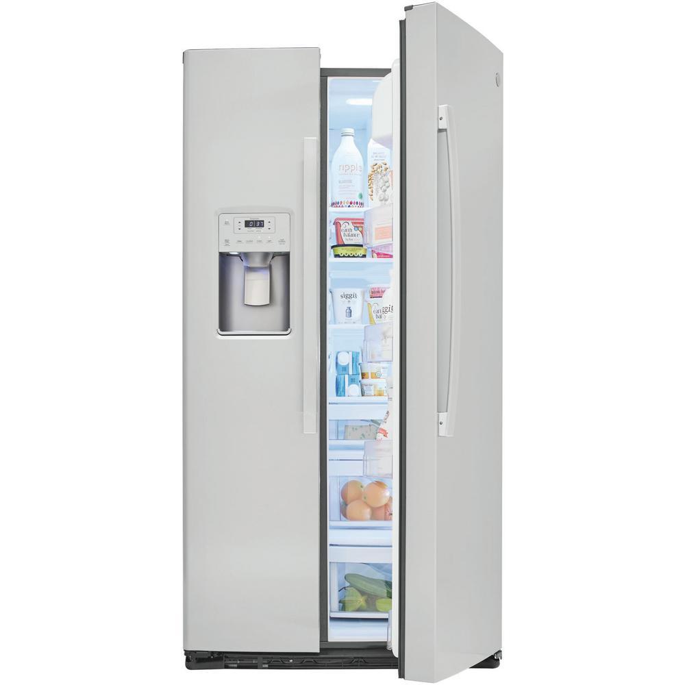 GE 25.1 cu. Ft. Side by Side Refrigerator in Stainless Steel, Fingerprint Ge Gie Gshss Refrigerator Schematic Diagram on