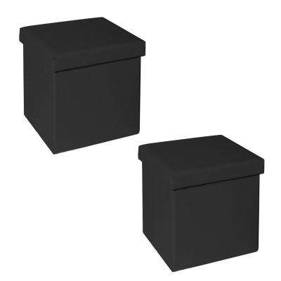 Black Seville Classics Faux Leather Quilted Foldable Storage Ottoman (Set of 2)
