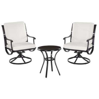 Redwood Valley Black 3-Piece Steel Outdoor Patio Bistro Set with CushionGuard Chalk White Cushions