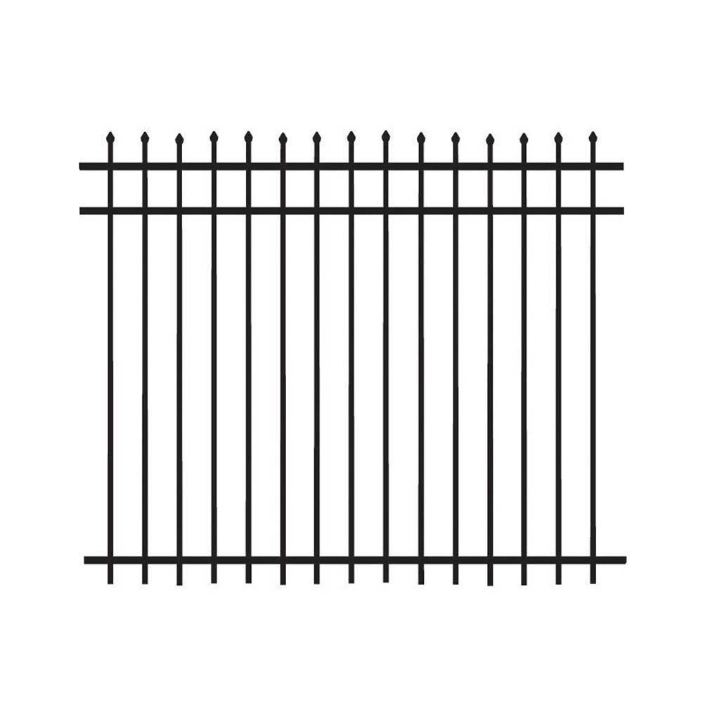 Barrette 5 ft. H x 6 ft. W Aluminum Black Fence Kit Picket Top (Not Assembled)