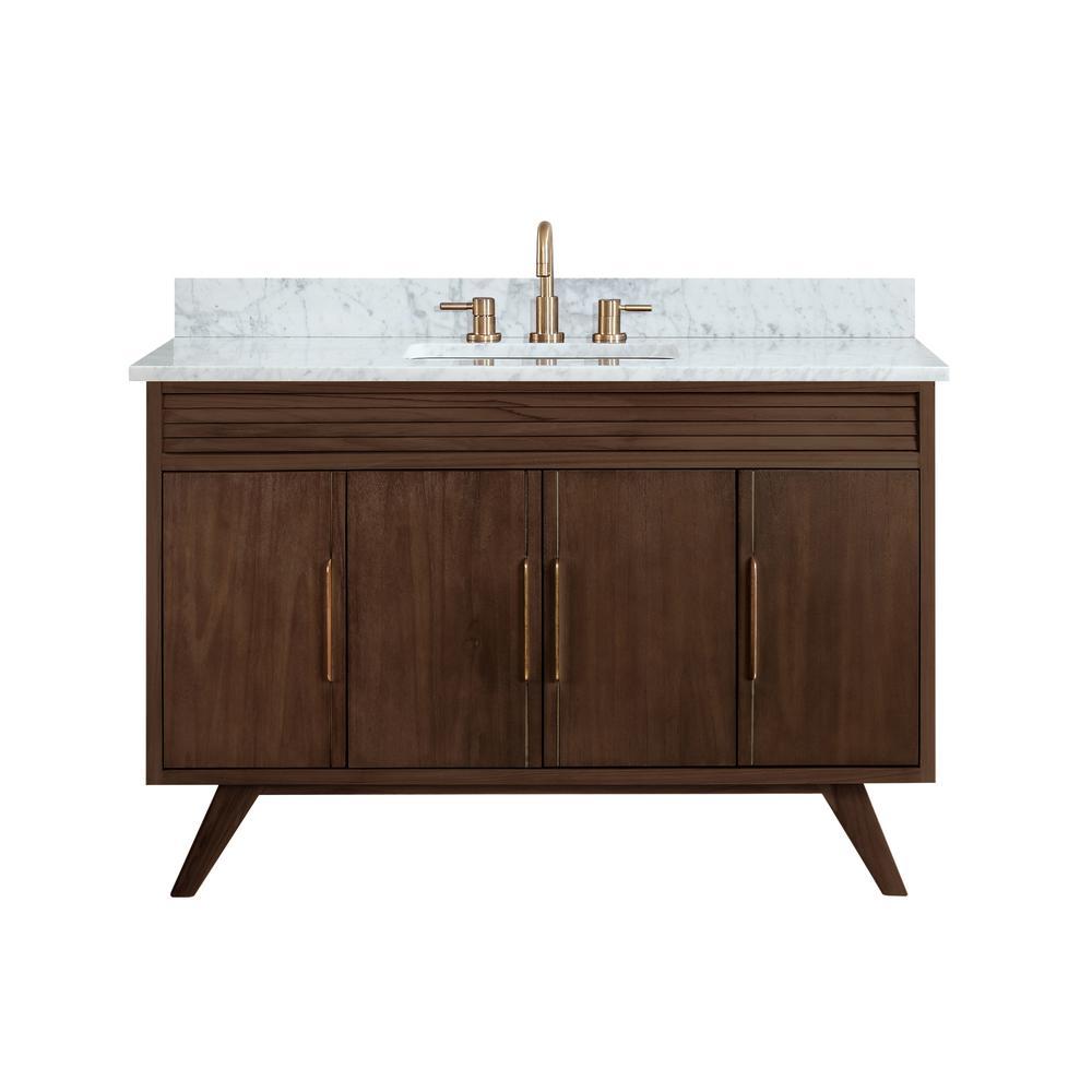 Taylor 49 in. W x 22 in. D Bath Vanity in Brown Teak with Marble Vanity Top in Carrara White with White Basin