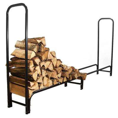 8 ft. Outdoor Firewood Stacker Storage Holder Log Rack in Black