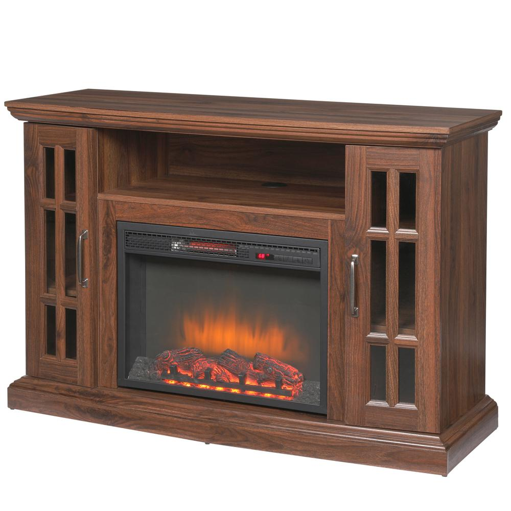 Home Decorators Collection Edenfield 48 In Freestanding Infrared Electric Fireplace Tv Stand In Burnished Walnut