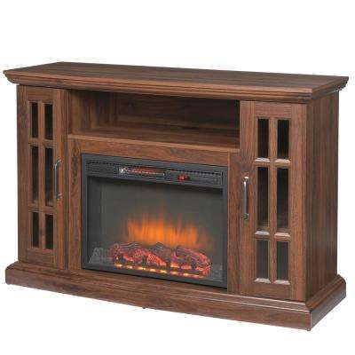 Edenfield 48 in. Freestanding Infrared Electric Fireplace TV Stand in Burnished Walnut