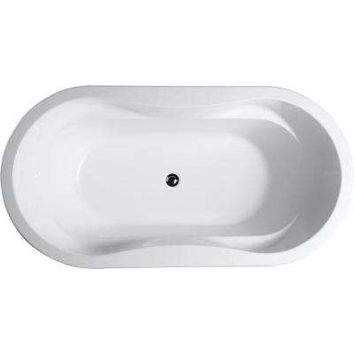 Brescia 65.04 in. Acrylic Flatbottom Non-Whirlpool Freestanding Bathtub in Glossy White