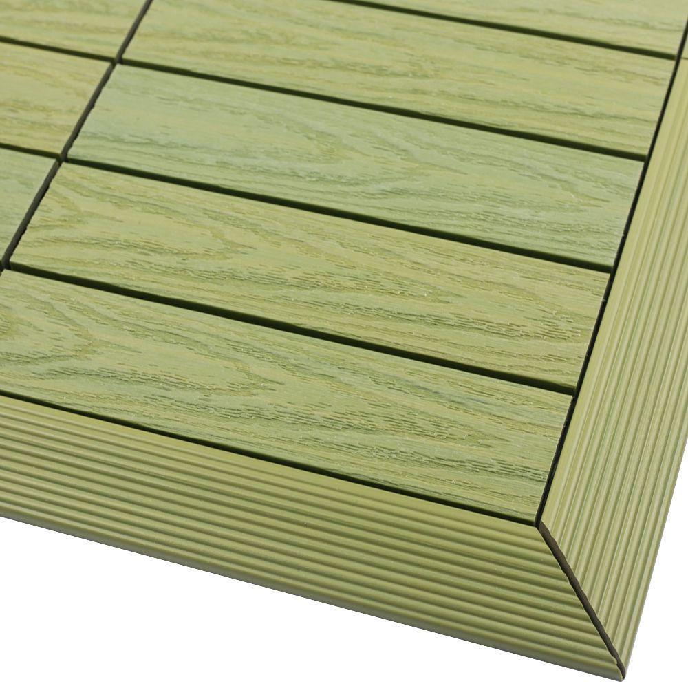 1/6 ft. x 1 ft. Quick Deck Composite Deck Tile Outside Corner Trim in Irish Green (2-Pieces/box)
