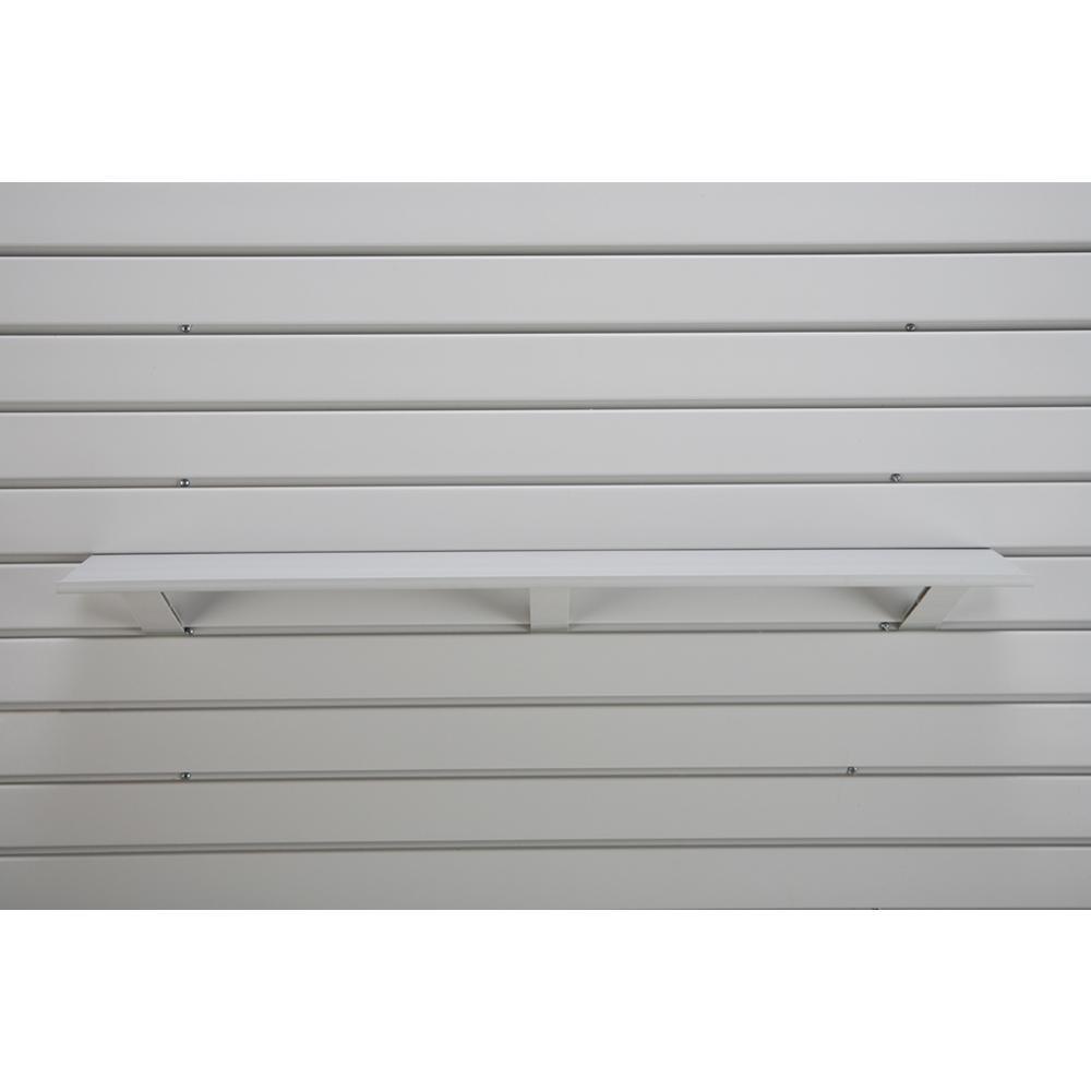 Plastic 5-3/4 in. x 36 in. Slat Wall Shelf in Light Gray