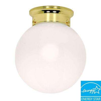 1-Light Polished Brass Ball Flushmount