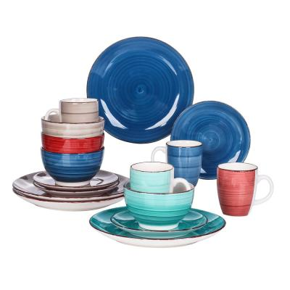 Series Bella 16-Pieces Dinnerware Set Porcelain Dinner Set Crockery in Vintage Look Combination Sets (Service for 4)
