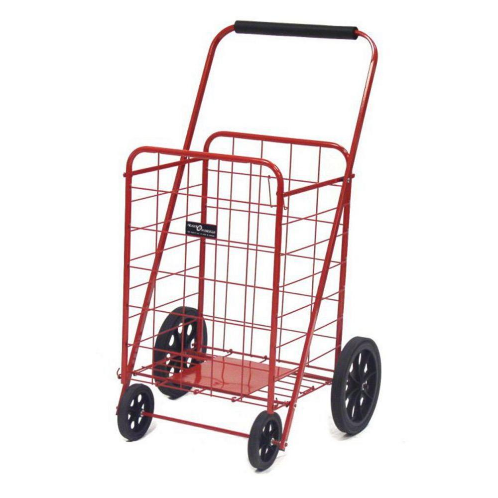 Easy Wheels Red Super Shopping Cart The Easy Wheels Super Shopping cart has been the industry's premier cart with industrial strength for home use. When lying down, with the cart folded, the highest measurement are the wheels with a 9.75 in. Dia. giving an incredible amount of convenience in a compact size. It comes equipped with an extra plate at the bottom of the basket for improved durability and longevity. Color: Red.