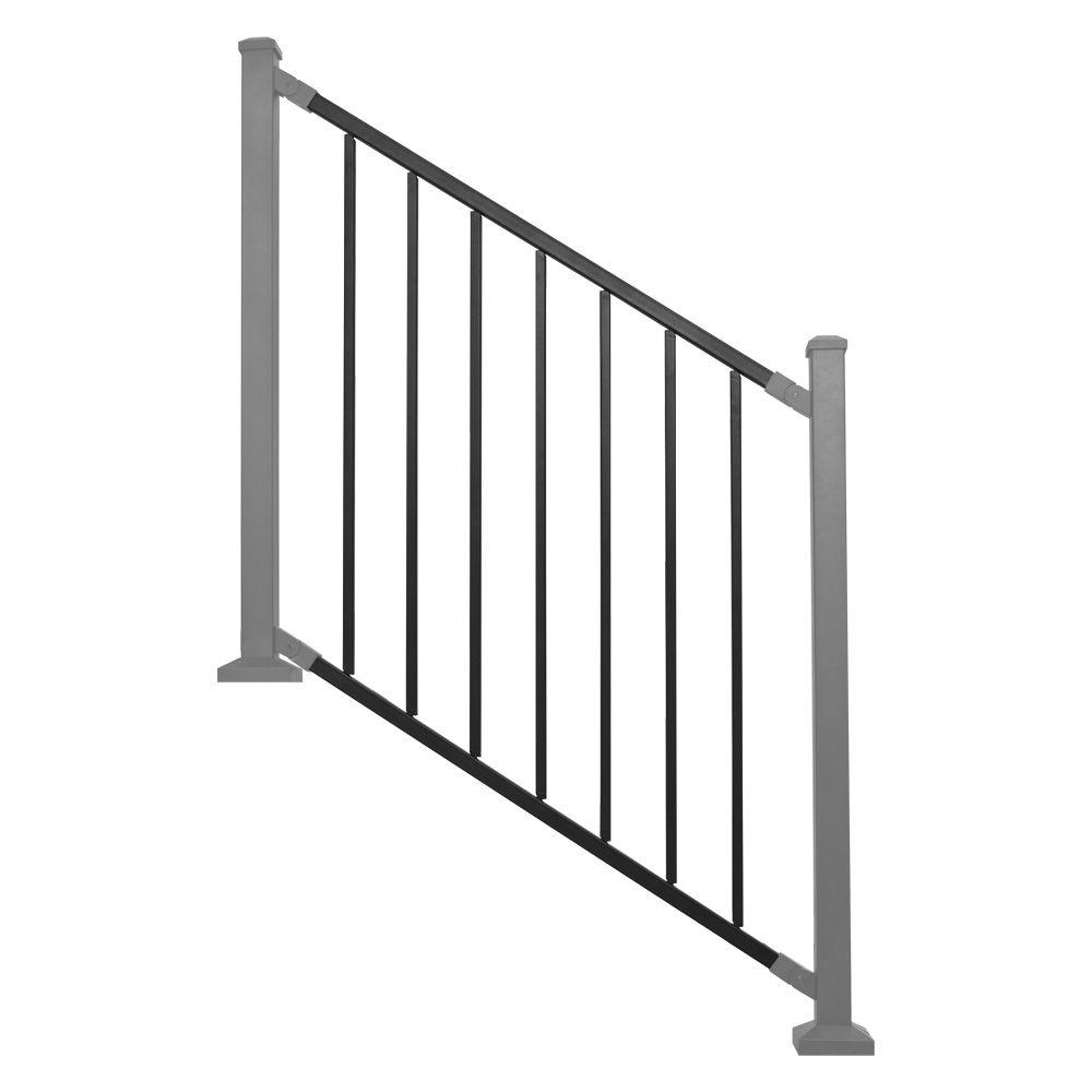 Railing Panel Black Metal Stair RDI (Common: 8 Ft. X 32 In