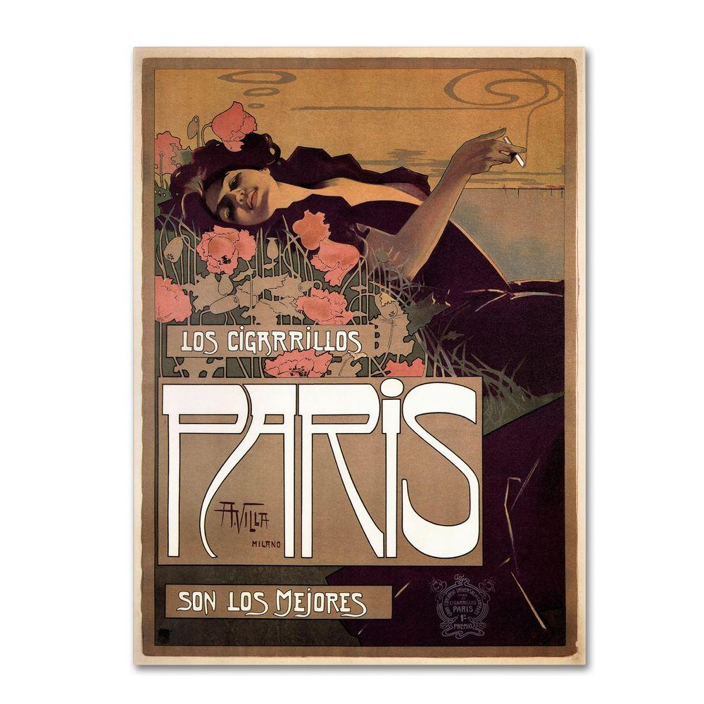 19 in. x 14 in. Paris Cigarettes 1901 Canvas Art