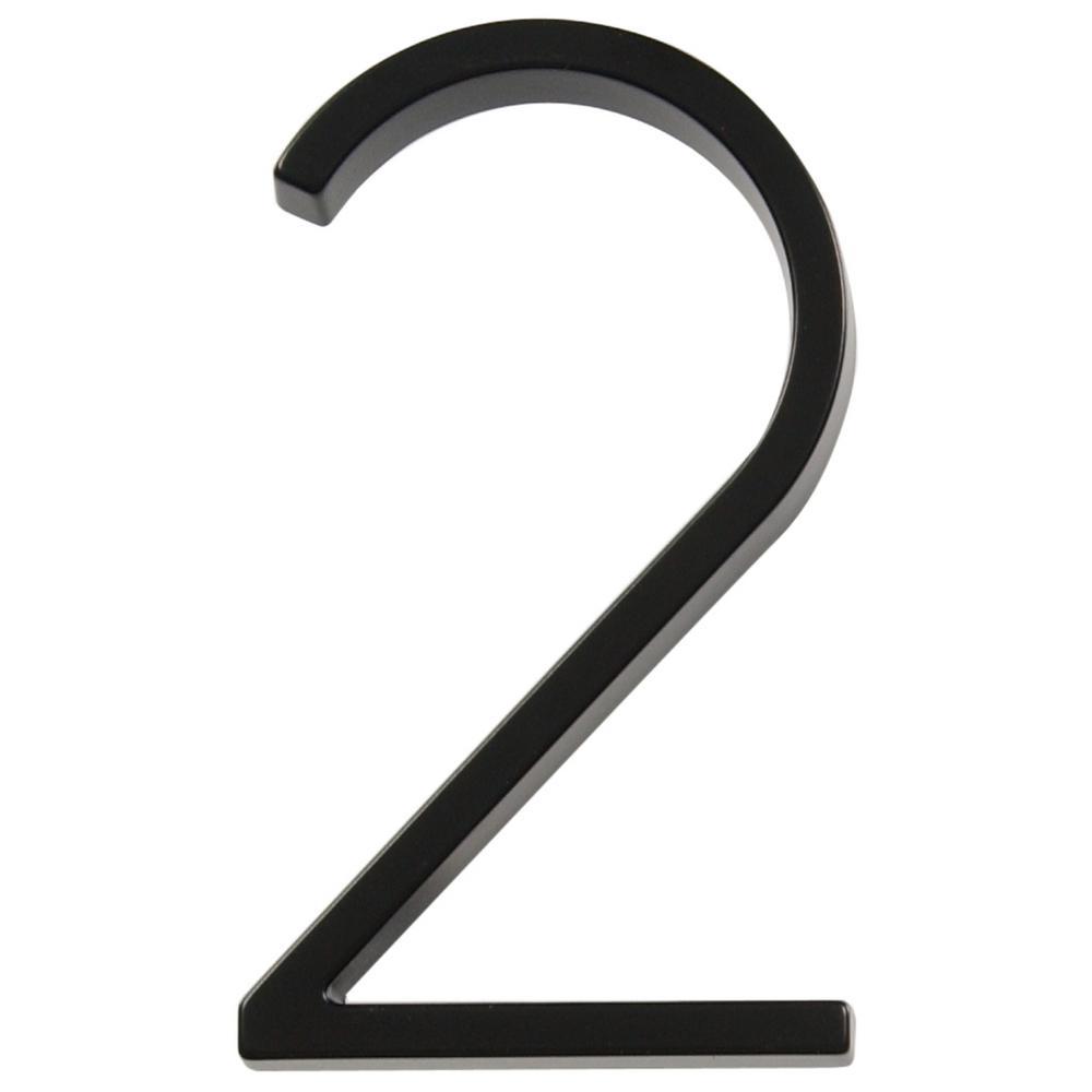 5 in. Elevated Black Number 2