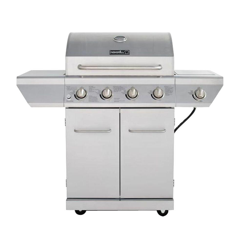 nexgrill 4 burner propane gas grill in stainless steel with side burner and stainless steel. Black Bedroom Furniture Sets. Home Design Ideas