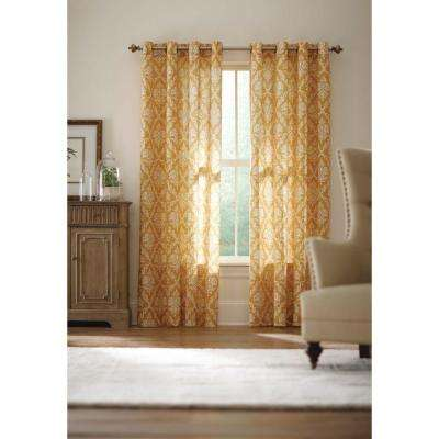 Semi-Opaque Gold Grommet Curtain - 52 in. W x 84 in. L