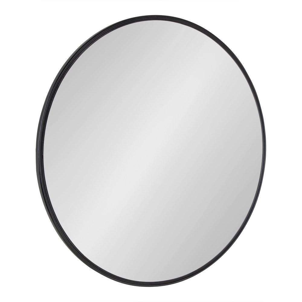 Caskill 30 in x 30 in. Modern Round Black Wall Mirror