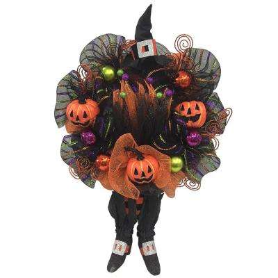20 in. Mesh Halloween Wreath with Pumpkins and Witch Legs