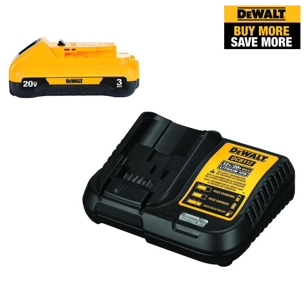 DEWALT 20-Volt MAX Lithium-Ion Battery Pack 3.0Ah with Charger