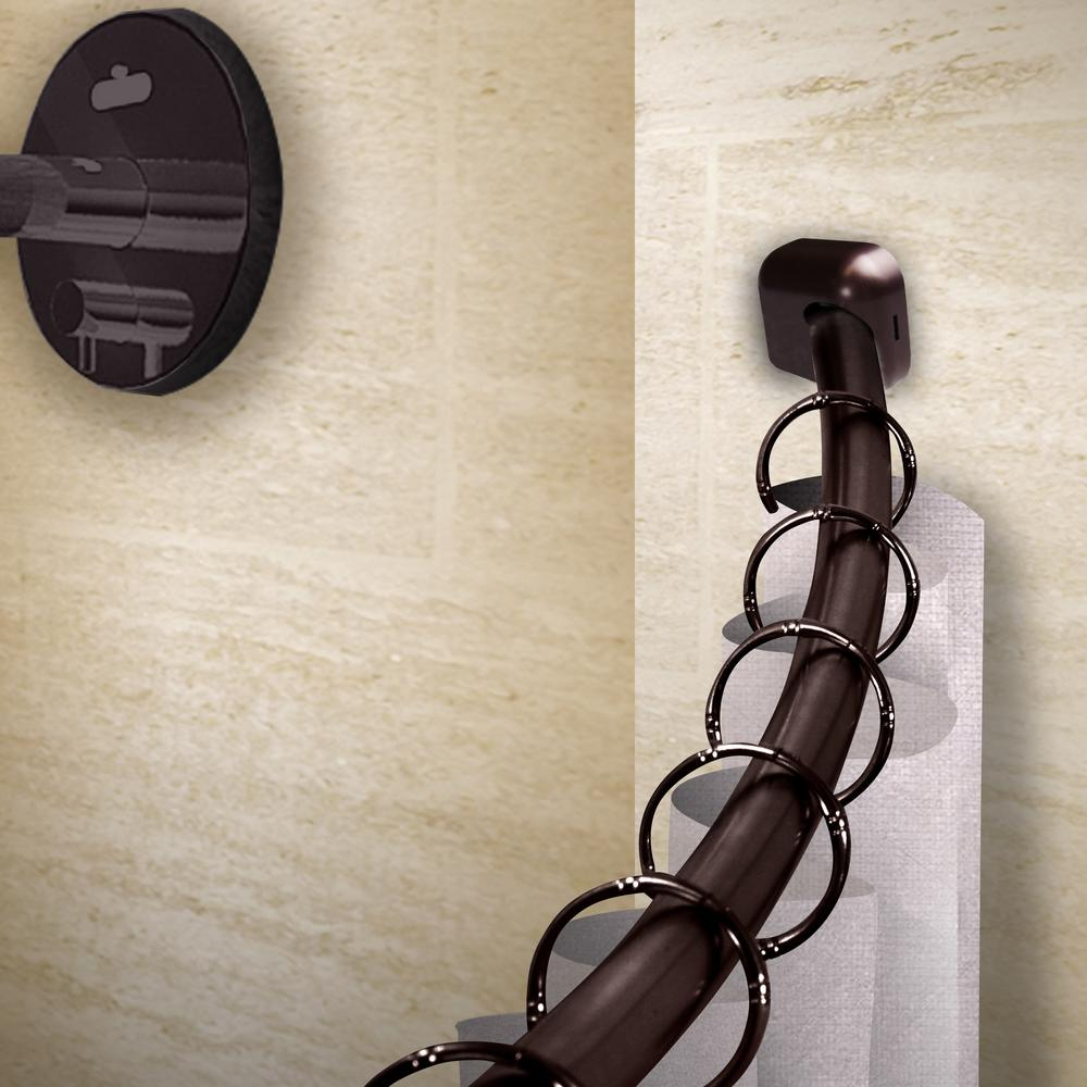 Rod Desyne 41-72 In. Curved Shower Curtain Rod With Rust
