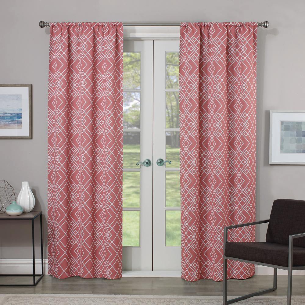 Eclipse Blackout Paloma 63 in. L Coral Rod Pocket Curtain