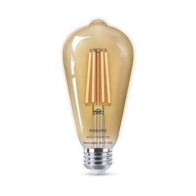 Amber ST19 LED 40-Watt Equivalent Dimmable Smart Wi-Fi Wiz Connected Wireless Light Bulb