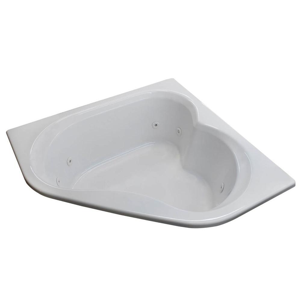 Beryl 5 ft. Acrylic Corner Drop-in Whirlpool Bathtub in White
