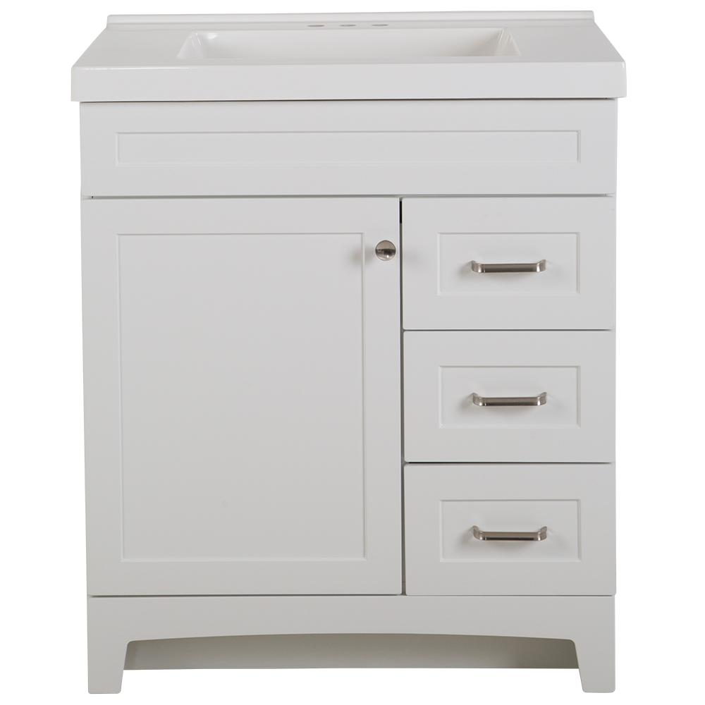 Home Decorators Collection Thornbriar 31 in. W x 22 in. D x 37 in. H Bath Vanity in White with Cultured Marble Vanity Top in White with White Sink