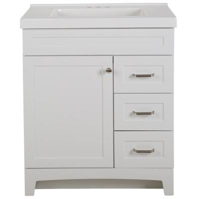 Thornbriar 31 in. W x 22 in. D x 37 in. H Bath Vanity in White with Cultured Marble Vanity Top in White with White Sink