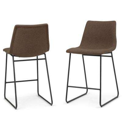 Ridley Contemporary Mid Century 24 in. Brown Linen Look Fabric Counter Stool (Set of 2)