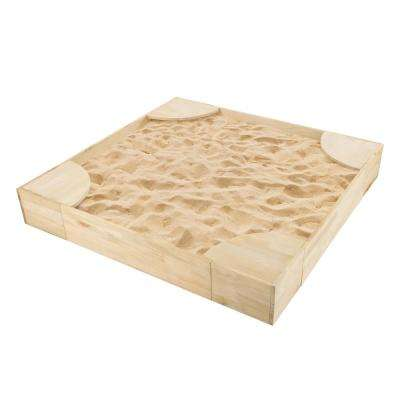 50 in. x 50 in. Wooden Sandbox with Built-in Seating