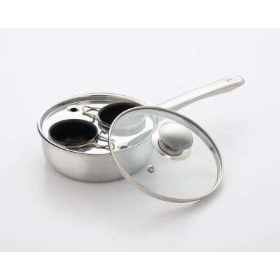 2-Cup Stainless Steel Egg Poacher with Nonstick Egg Cups