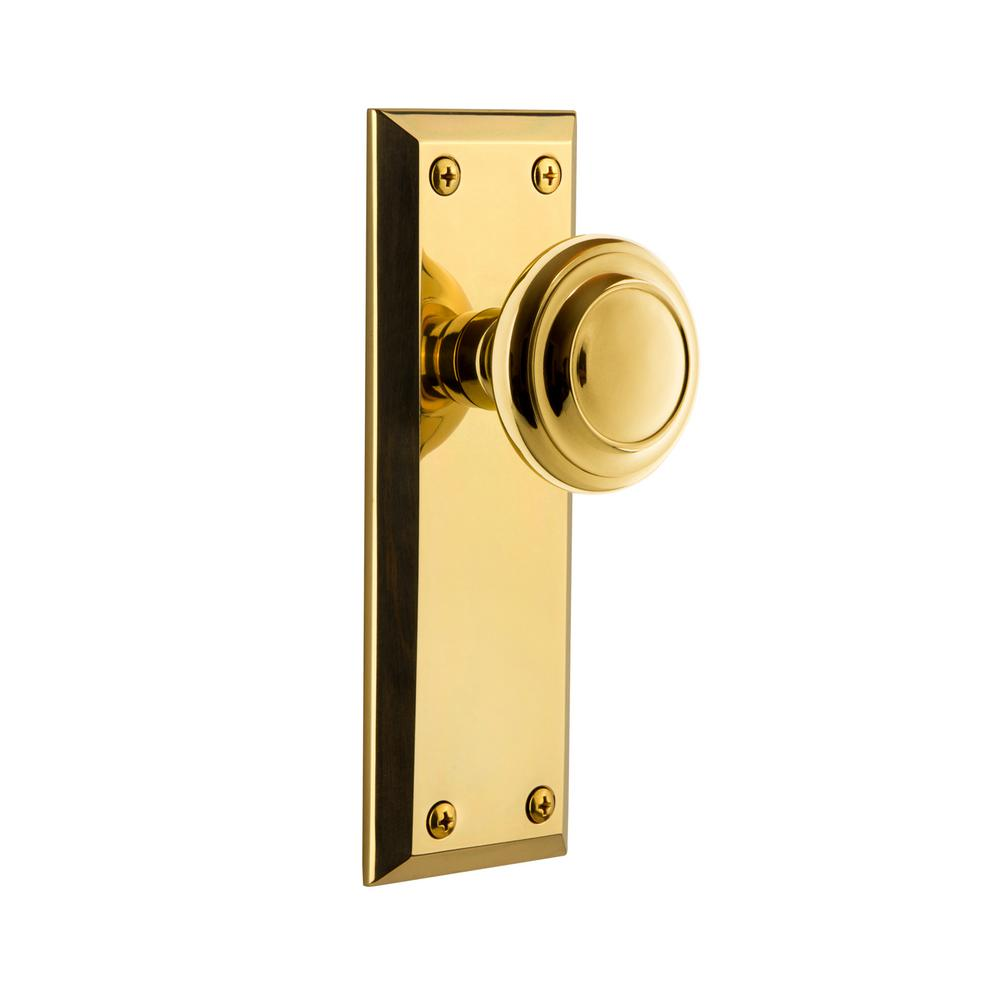 2.75 Bright Chrome Grandeur Hardware 853116 Fifth Avenue Tall Plate with Coventry Knob Privacy Backset Size