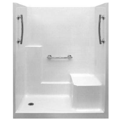 Ultimate 33 in. x 60 in. x 77 in. 1-Piece Low Threshold Shower Stall in White, Grab Bars, RHS Molded Seat, Left Drain