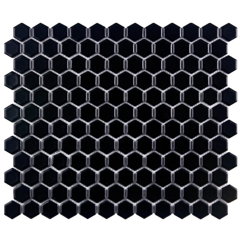 Merola Tile Metro Hex Matte Black 10-1/4 in. x 11-3/4 in. x 5 mm Porcelain Mosaic Tile (8.54 sq. ft. / case)